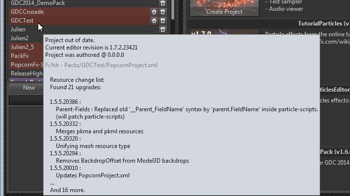 Popcorn-Fx project selection : projetc versions patch summary