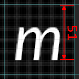 lowercase m width in pixels to compute atlas to font ratio