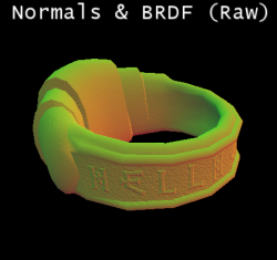 Packed raw Normals & BRDF (normal reflectance factor + roughness)