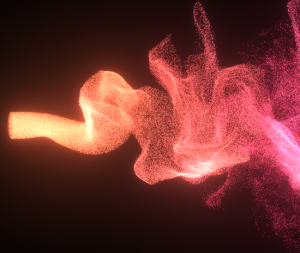 Particle stream affected by a turbulence