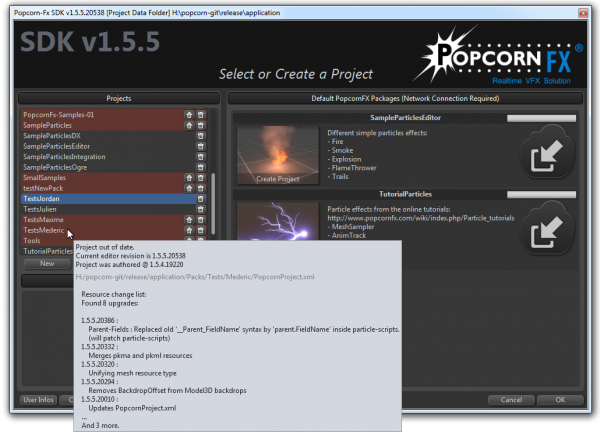Popcorn-Fx project selection : project versions patch summary