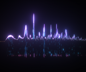 Particles sampling an audio spectrum and moving with the beat